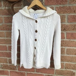 Girls Off-White Cozy Sweater With Hood Size 10-12